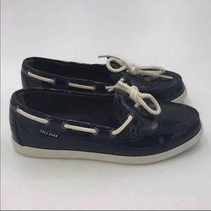 COLE HAAN Navy Blue Nantucket Camp Moccasins • 6